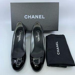 Chanel Black Patent Leather Metallic Heels 38